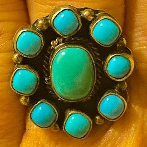 Vintage Navajo Emma Lincoln Turquoise .925 Ring